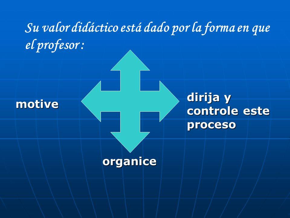 Su valor didáctico está dado por la forma en que el profesor : motive organice dirija y controle este proceso