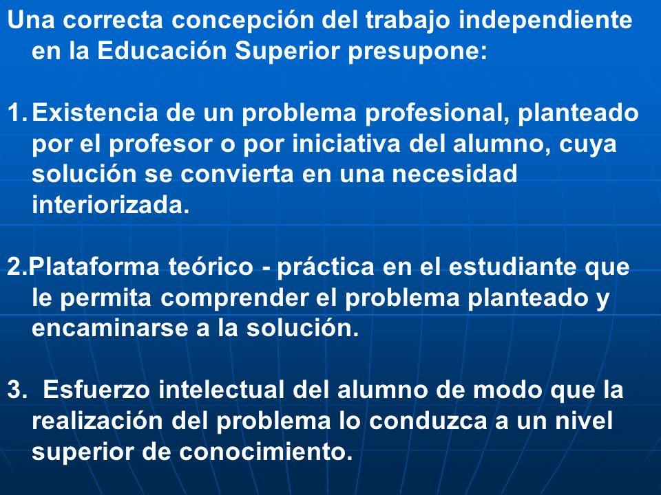 Una correcta concepción del trabajo independiente en la Educación Superior presupone: 1.Existencia de un problema profesional, planteado por el profes