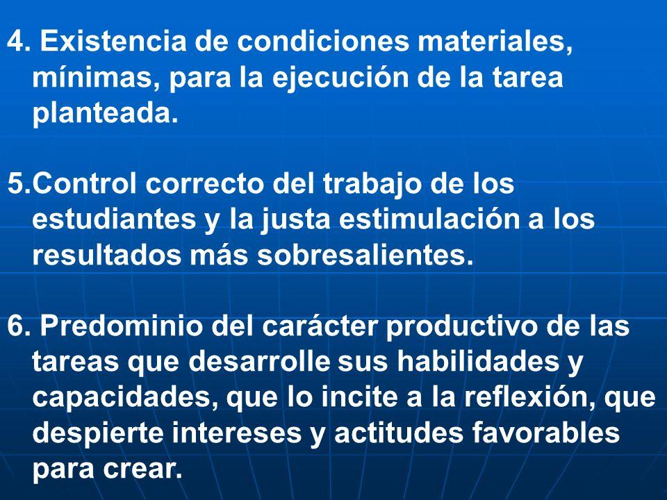 4. Existencia de condiciones materiales, mínimas, para la ejecución de la tarea planteada. 5.Control correcto del trabajo de los estudiantes y la just