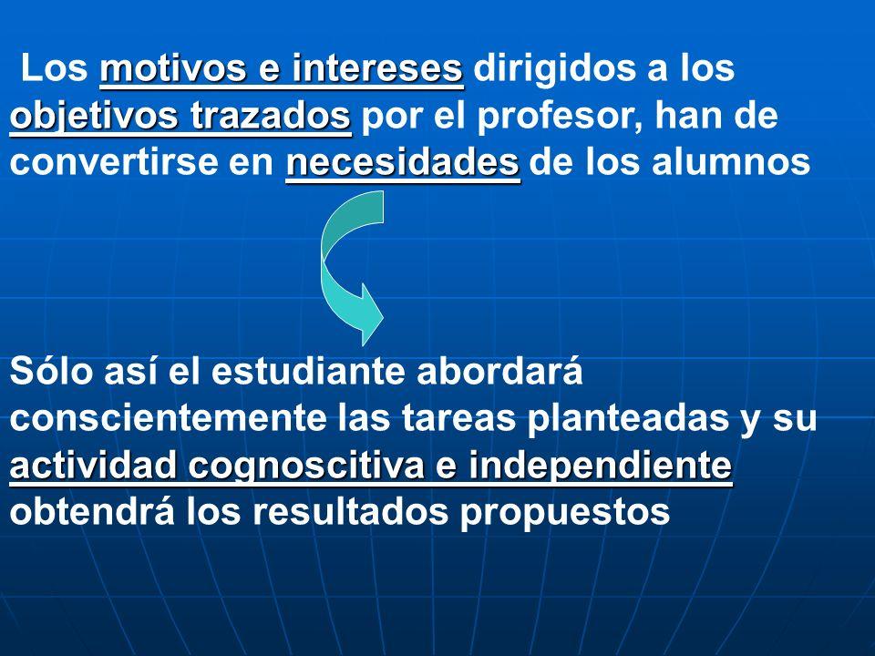 motivos e intereses objetivos trazados necesidades Los motivos e intereses dirigidos a los objetivos trazados por el profesor, han de convertirse en n