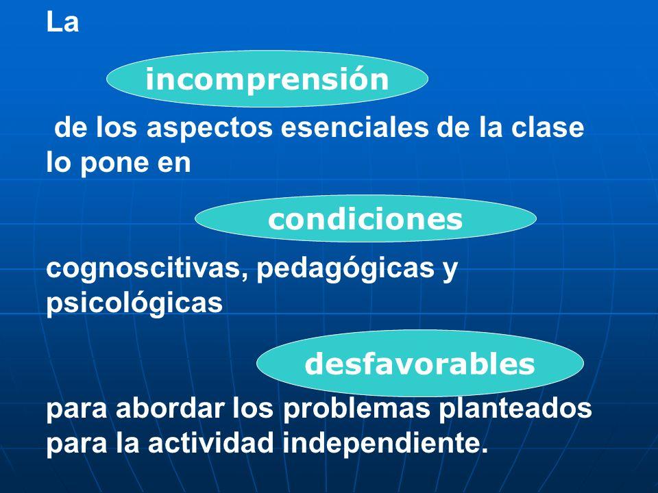La de los aspectos esenciales de la clase lo pone en cognoscitivas, pedagógicas y psicológicas para abordar los problemas planteados para la actividad