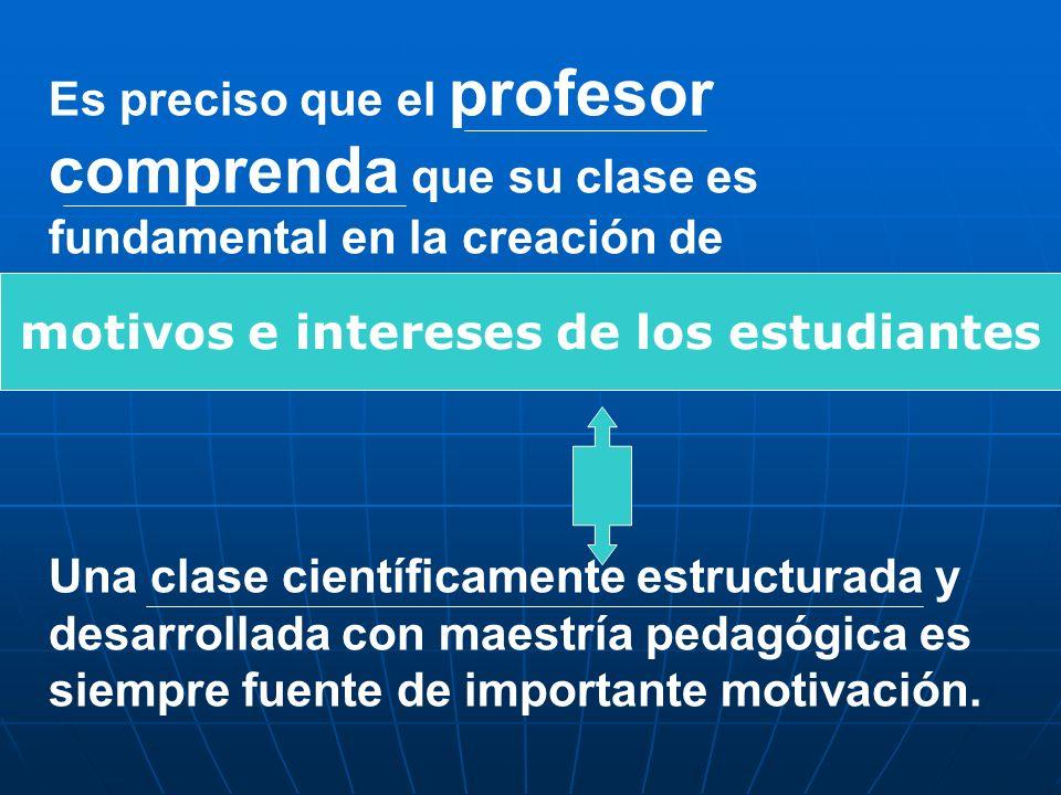 Es preciso que el profesor comprenda que su clase es fundamental en la creación de por su asignatura. Una clase científicamente estructurada y desarro
