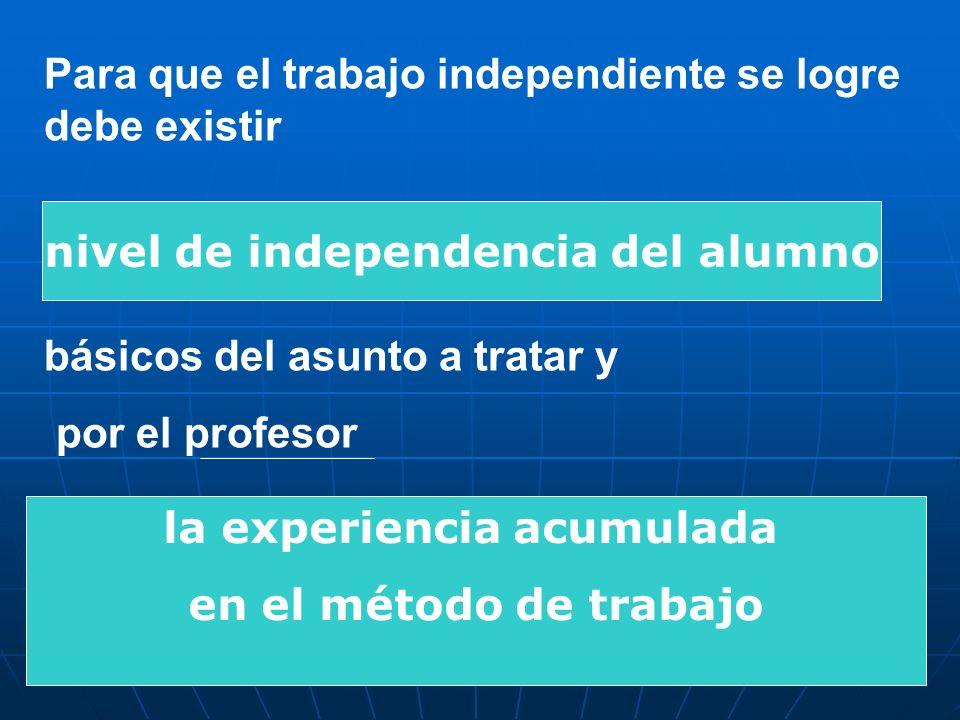 Para que el trabajo independiente se logre debe existir básicos del asunto a tratar y por el profesor nivel de independencia del alumno la experiencia