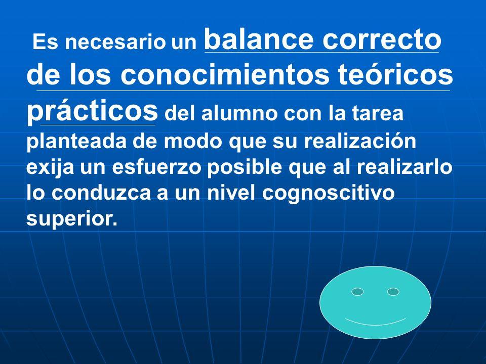 Es necesario un balance correcto de los conocimientos teóricos prácticos del alumno con la tarea planteada de modo que su realización exija un esfuerz