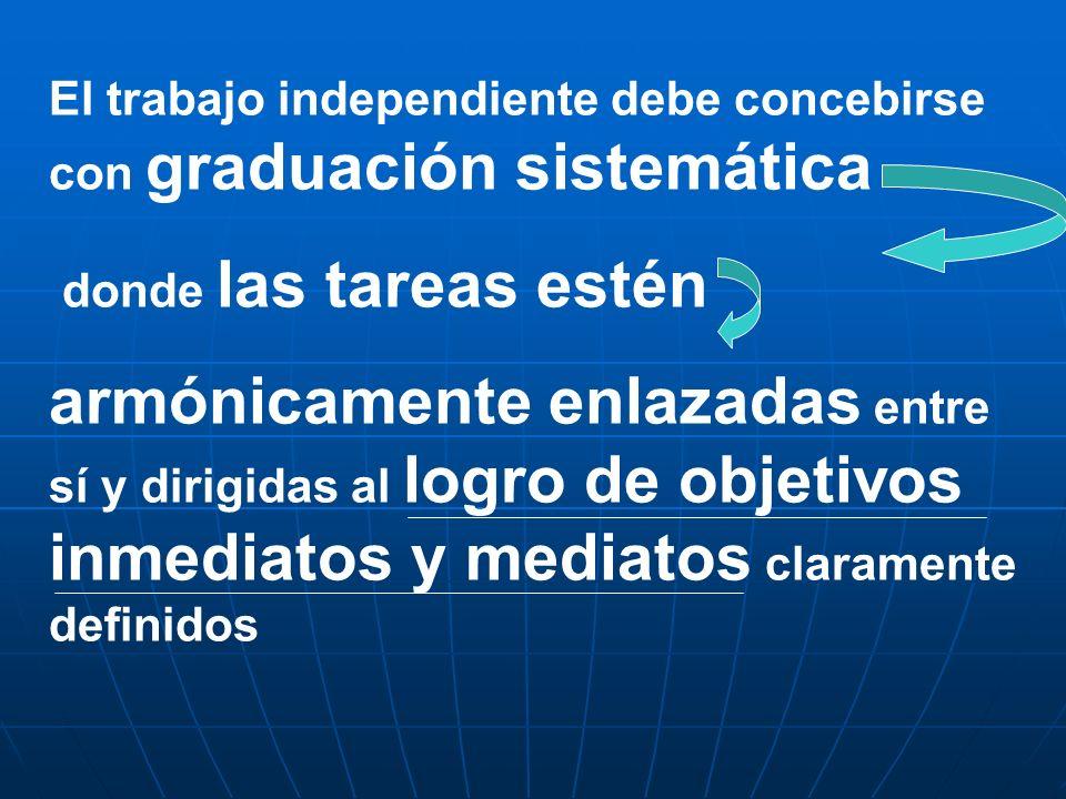 El trabajo independiente debe concebirse con graduación sistemática donde las tareas estén armónicamente enlazadas entre sí y dirigidas al logro de ob