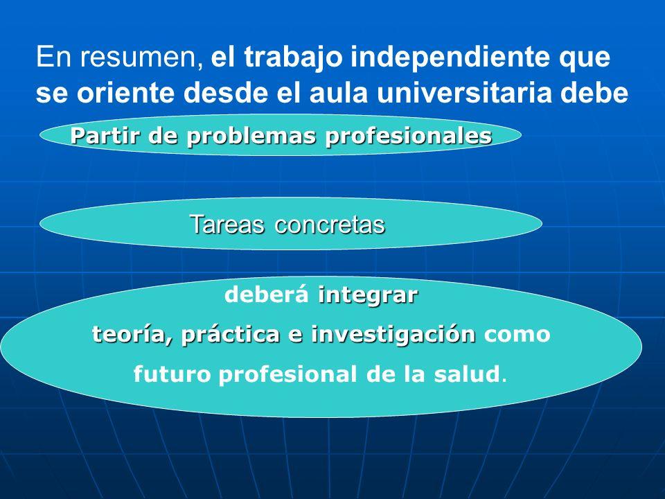 En resumen, el trabajo independiente que se oriente desde el aula universitaria debe Partir de problemas profesionales Tareas concretas integrar deber