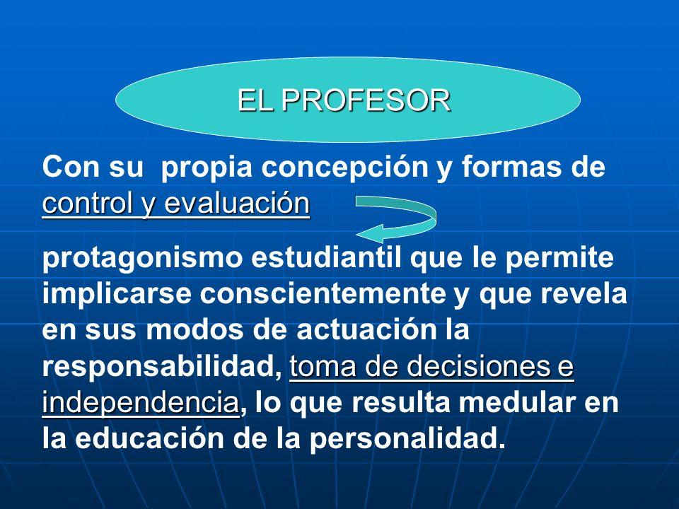control y evaluación Con su propia concepción y formas de control y evaluación toma de decisiones e independencia protagonismo estudiantil que le perm