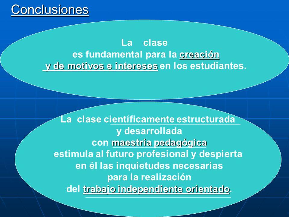 Conclusiones La clase creación es fundamental para la creación y de motivos e intereses y de motivos e intereses en los estudiantes. La clase científi