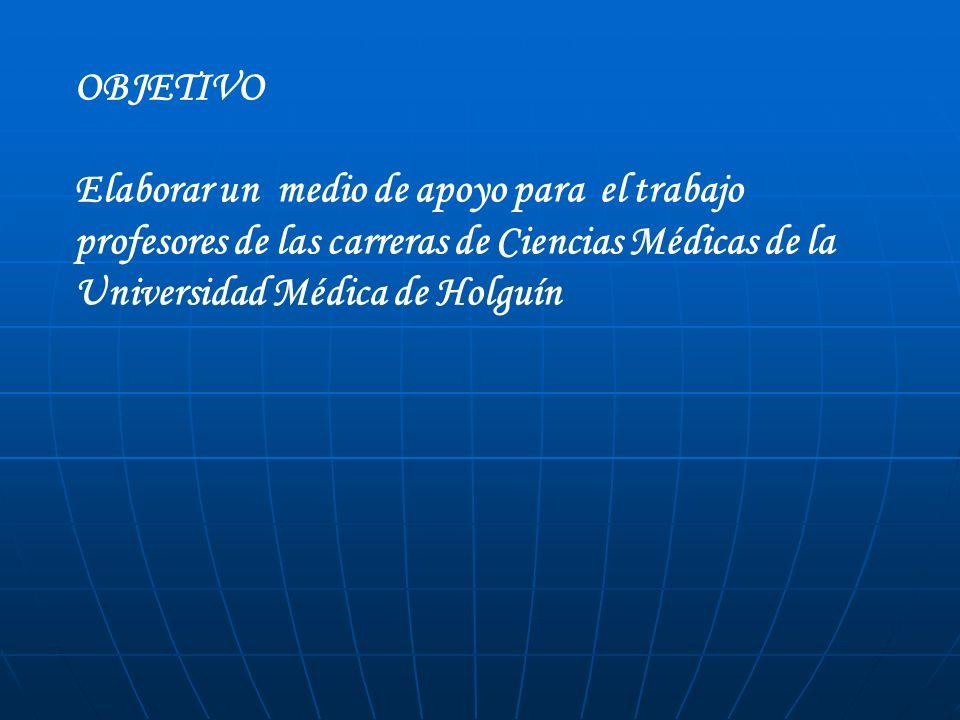 OBJETIVO Elaborar un medio de apoyo para el trabajo profesores de las carreras de Ciencias Médicas de la Universidad Médica de Holguín