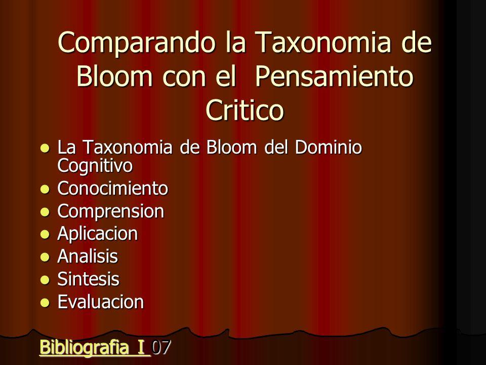 Comparando la Taxonomia de Bloom con el Pensamiento Critico La Taxonomia de Bloom del Dominio Cognitivo La Taxonomia de Bloom del Dominio Cognitivo Co