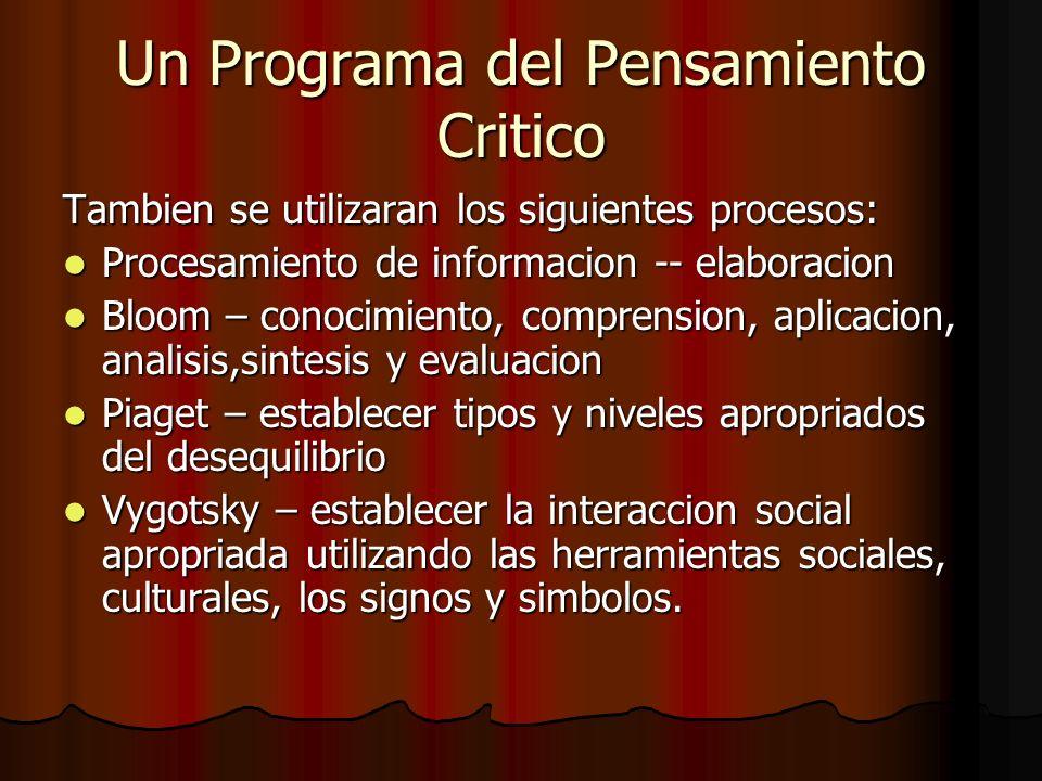 Un Programa del Pensamiento Critico Tambien se utilizaran los siguientes procesos: Procesamiento de informacion -- elaboracion Procesamiento de inform