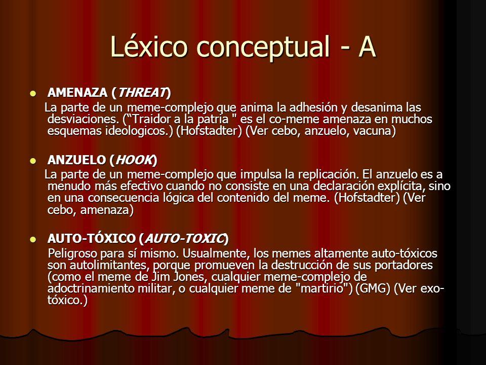 Léxico conceptual - A AMENAZA (THREAT) AMENAZA (THREAT) La parte de un meme-complejo que anima la adhesión y desanima las desviaciones. (Traidor a la