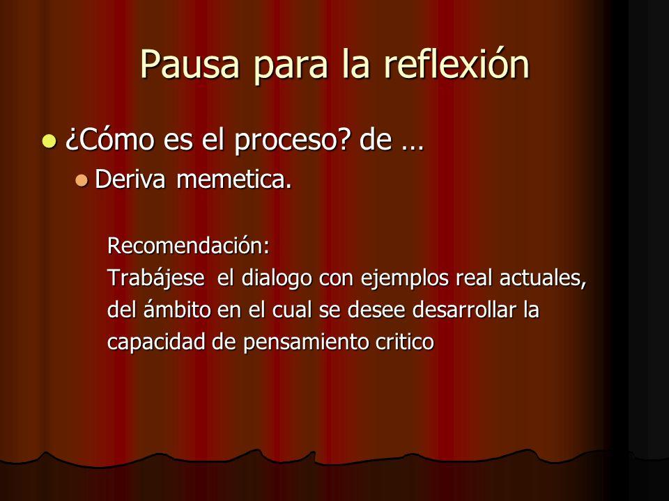 Pausa para la reflexión ¿Cómo es el proceso? de … ¿Cómo es el proceso? de … Deriva memetica. Deriva memetica.Recomendación: Trabájese el dialogo con e