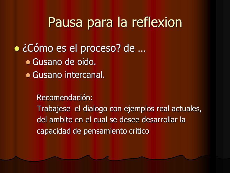 Pausa para la reflexion ¿Cómo es el proceso? de … ¿Cómo es el proceso? de … Gusano de oido. Gusano de oido. Gusano intercanal. Gusano intercanal.Recom