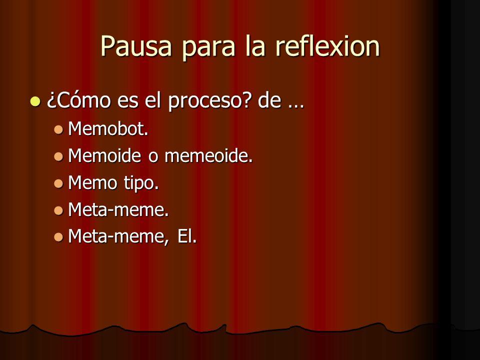 Pausa para la reflexion ¿Cómo es el proceso? de … ¿Cómo es el proceso? de … Memobot. Memobot. Memoide o memeoide. Memoide o memeoide. Memo tipo. Memo