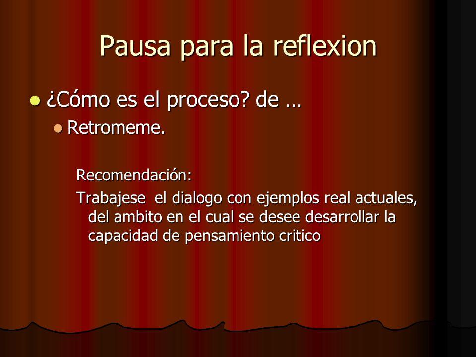 Pausa para la reflexion ¿Cómo es el proceso? de … ¿Cómo es el proceso? de … Retromeme. Retromeme.Recomendación: Trabajese el dialogo con ejemplos real