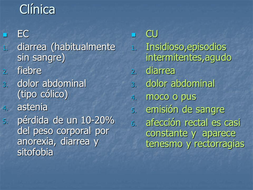Clínica EC EC 1. diarrea (habitualmente sin sangre) 2. fiebre 3. dolor abdominal (tipo cólico) 4. astenia 5. pérdida de un 10-20% del peso corporal po