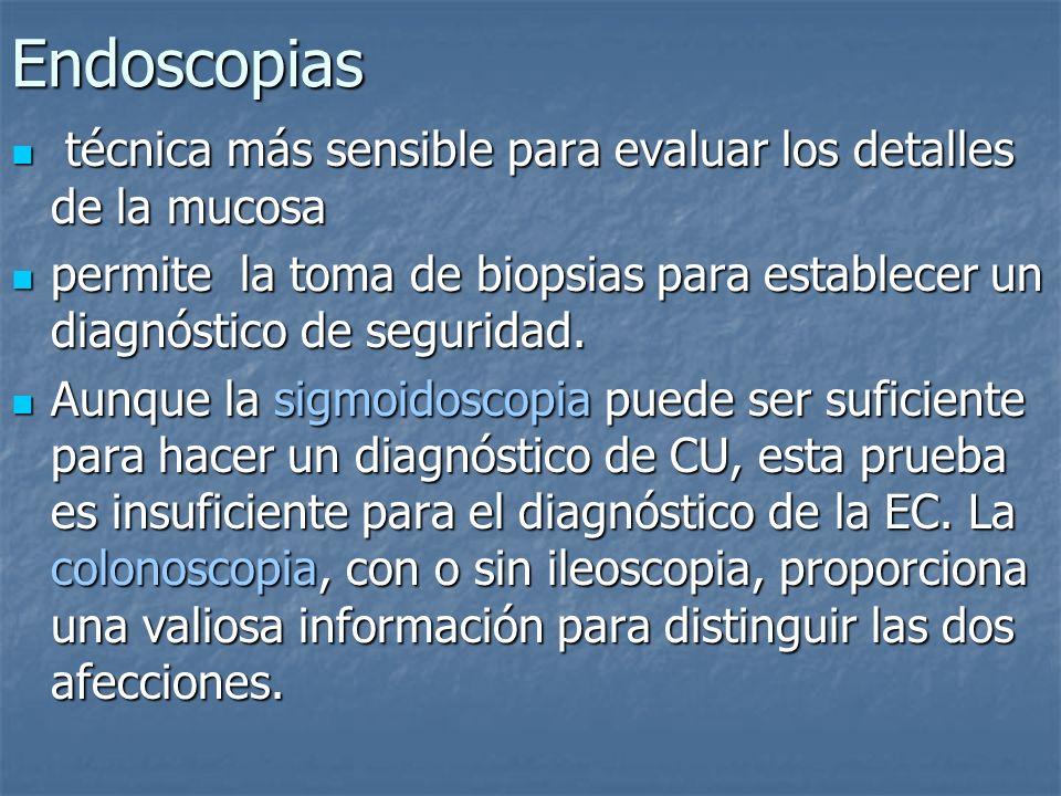 Endoscopias técnica más sensible para evaluar los detalles de la mucosa técnica más sensible para evaluar los detalles de la mucosa permite la toma de
