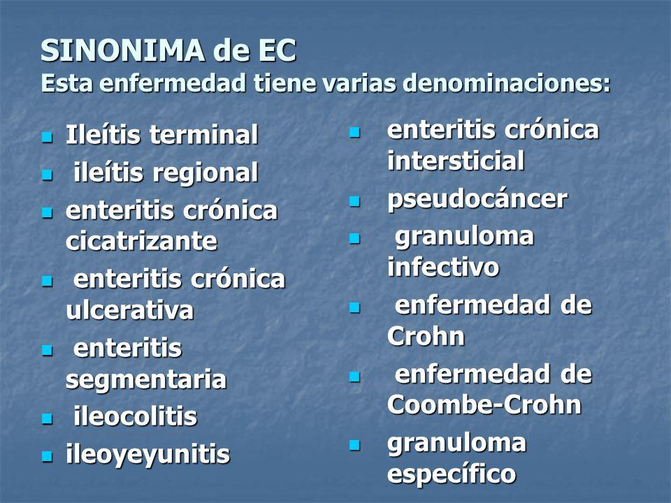 SINONIMA de EC Esta enfermedad tiene varias denominaciones: Ileítis terminal Ileítis terminal ileítis regional ileítis regional enteritis crónica cica