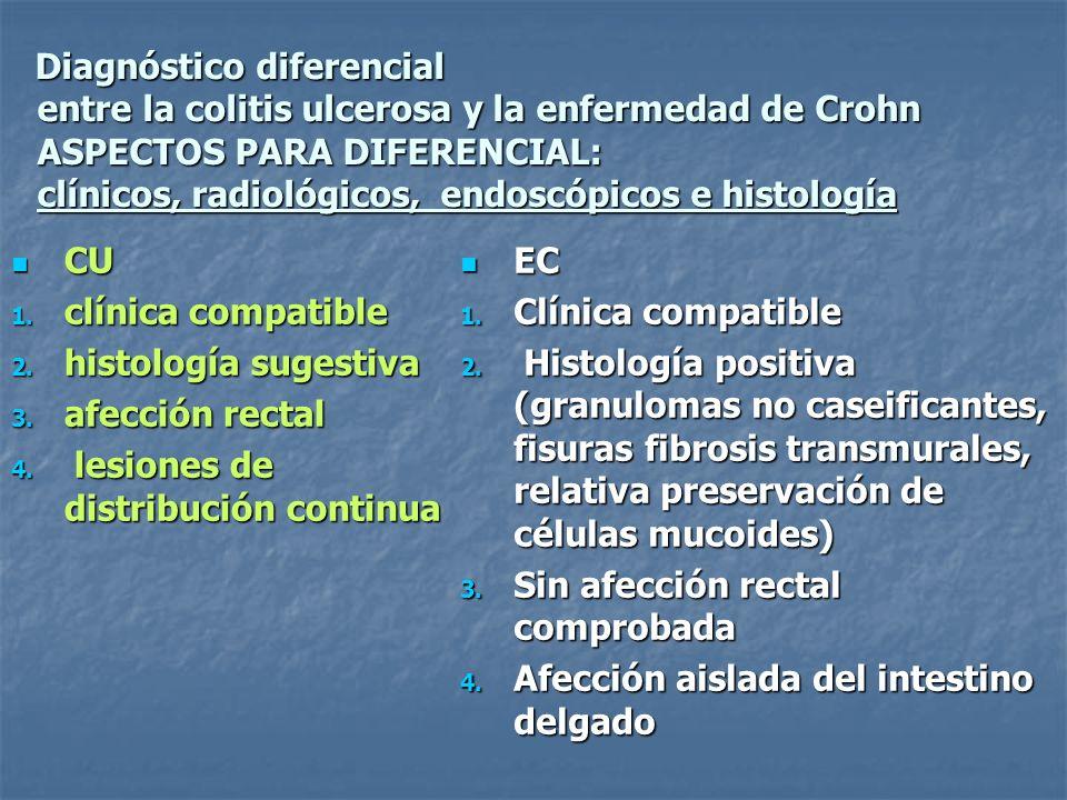 Diagnóstico diferencial entre la colitis ulcerosa y la enfermedad de Crohn ASPECTOS PARA DIFERENCIAL: clínicos, radiológicos, endoscópicos e histologí