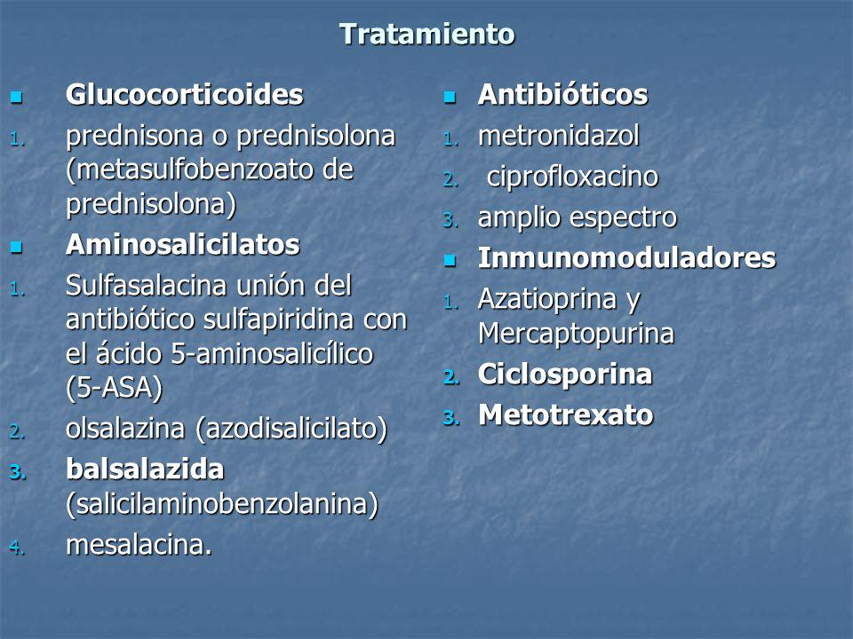 Tratamiento Glucocorticoides Glucocorticoides 1. prednisona o prednisolona (metasulfobenzoato de prednisolona) Aminosalicilatos Aminosalicilatos 1. Su