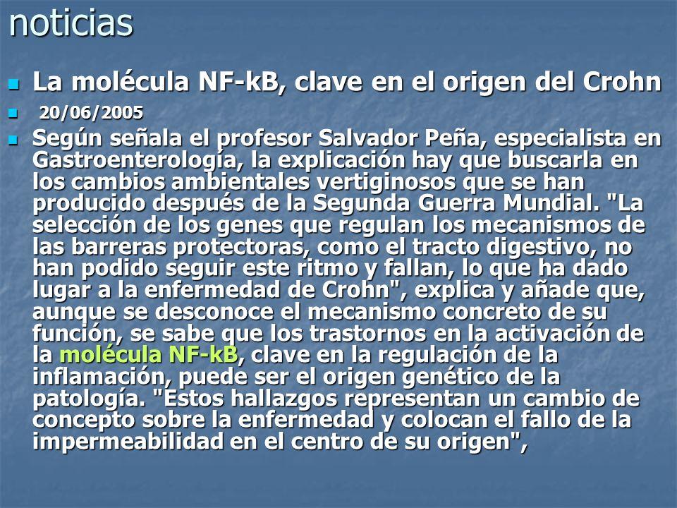 noticias La molécula NF-kB, clave en el origen del Crohn La molécula NF-kB, clave en el origen del Crohn 20/06/2005 20/06/2005 Según señala el profeso