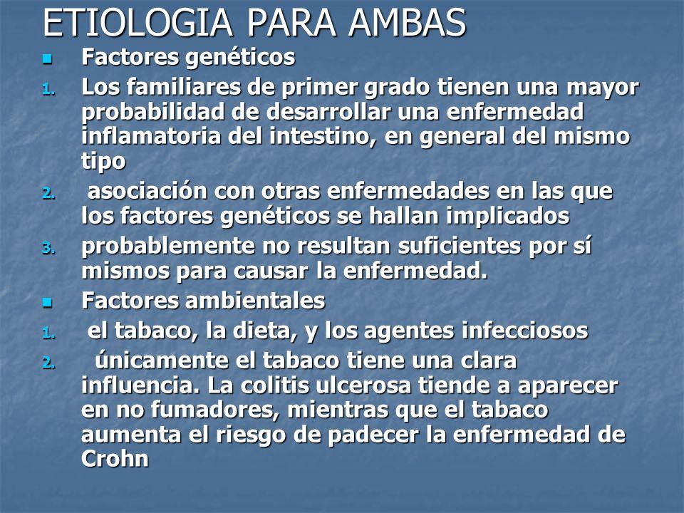 ETIOLOGIA PARA AMBAS Factores genéticos Factores genéticos 1. Los familiares de primer grado tienen una mayor probabilidad de desarrollar una enfermed
