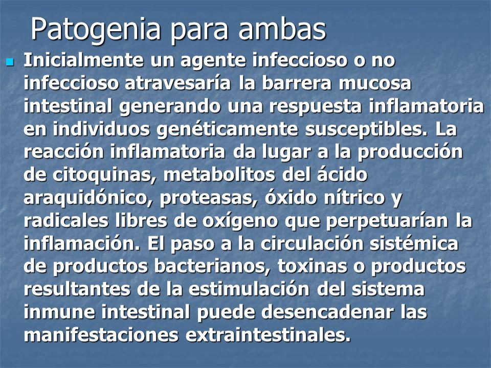 Patogenia para ambas Inicialmente un agente infeccioso o no infeccioso atravesaría la barrera mucosa intestinal generando una respuesta inflamatoria e