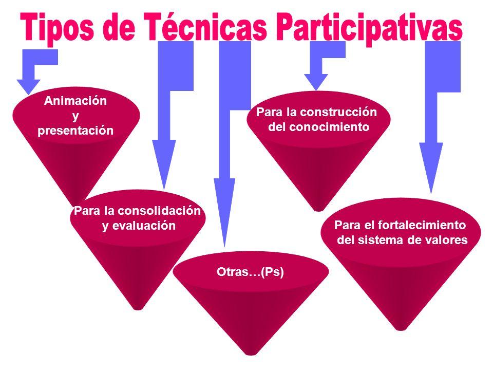 Animación y presentación Para la construcción del conocimiento Para la consolidación y evaluación Para el fortalecimiento del sistema de valores Otras