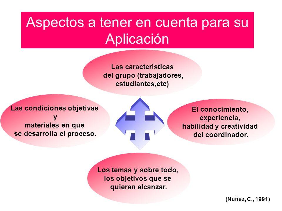 Aspectos a tener en cuenta para su Aplicación (Nuñez, C., 1991) El conocimiento, experiencia, habilidad y creatividad del coordinador. Las característ