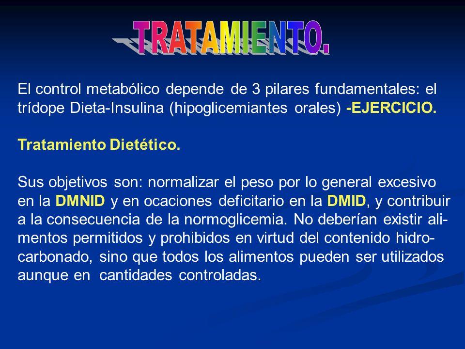 El control metabólico depende de 3 pilares fundamentales: el trídope Dieta-Insulina (hipoglicemiantes orales) -EJERCICIO. Tratamiento Dietético. Sus o