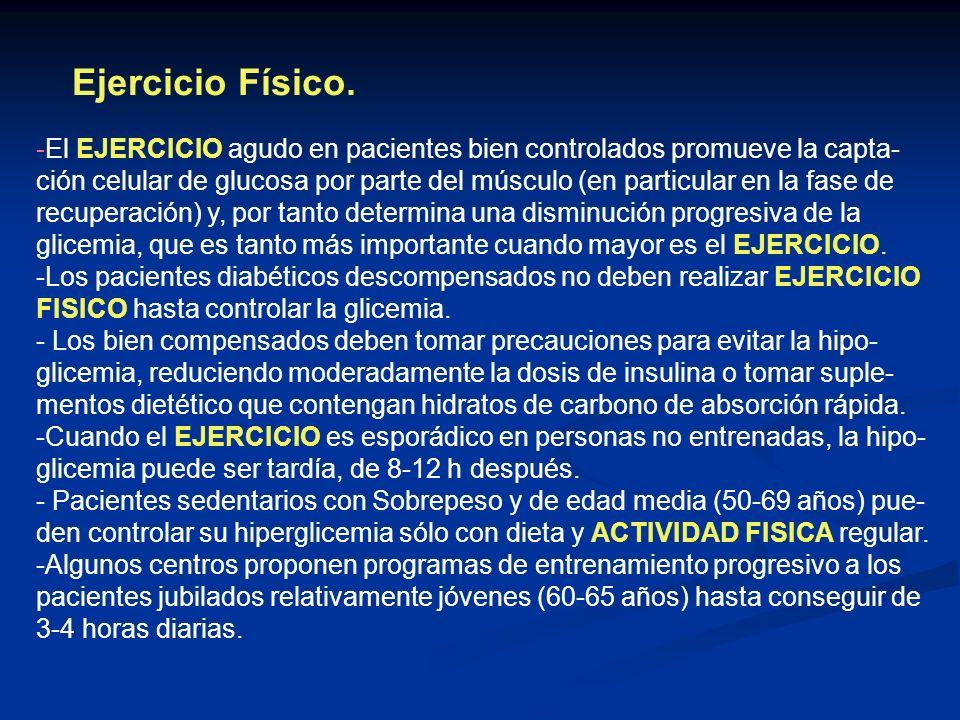 Ejercicio Físico. -El EJERCICIO agudo en pacientes bien controlados promueve la capta- ción celular de glucosa por parte del músculo (en particular en