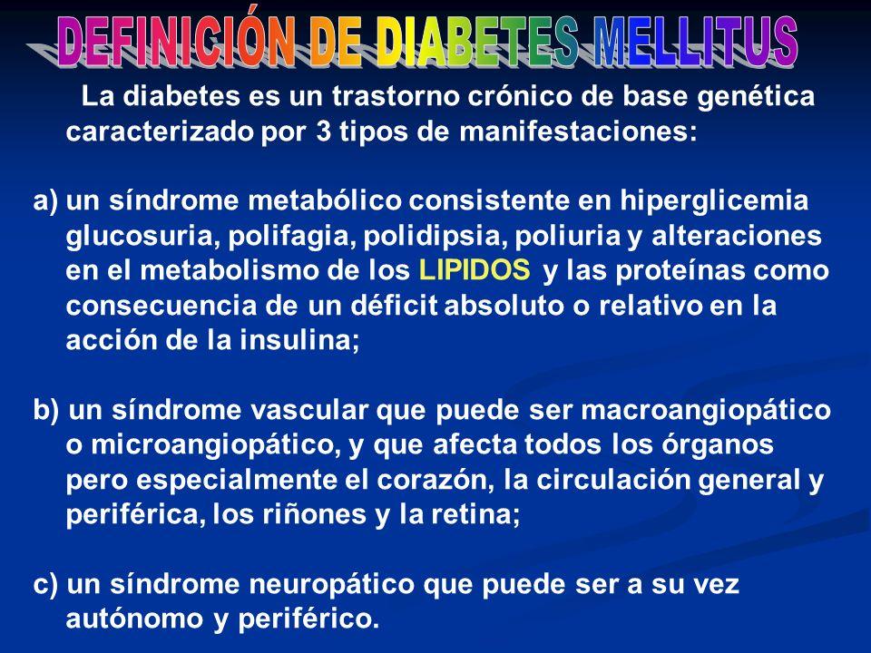 La diabetes es un trastorno crónico de base genética caracterizado por 3 tipos de manifestaciones: a)un síndrome metabólico consistente en hiperglicem
