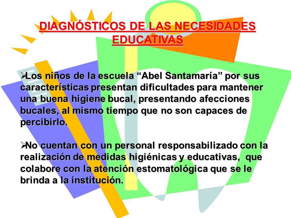 DIAGNÓSTICOS DE LAS NECESIDADES EDUCATIVAS Los niños de la escuela Abel Santamaría por sus características presentan dificultades para mantener una bu