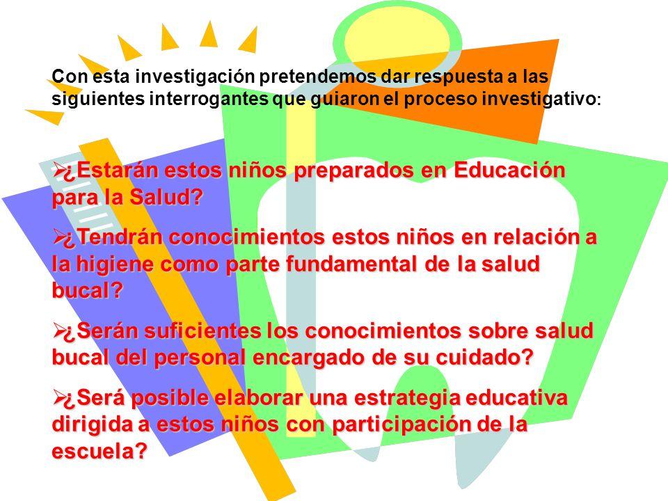 Con esta investigación pretendemos dar respuesta a las siguientes interrogantes que guiaron el proceso investigativo : ¿Estarán estos niños preparados