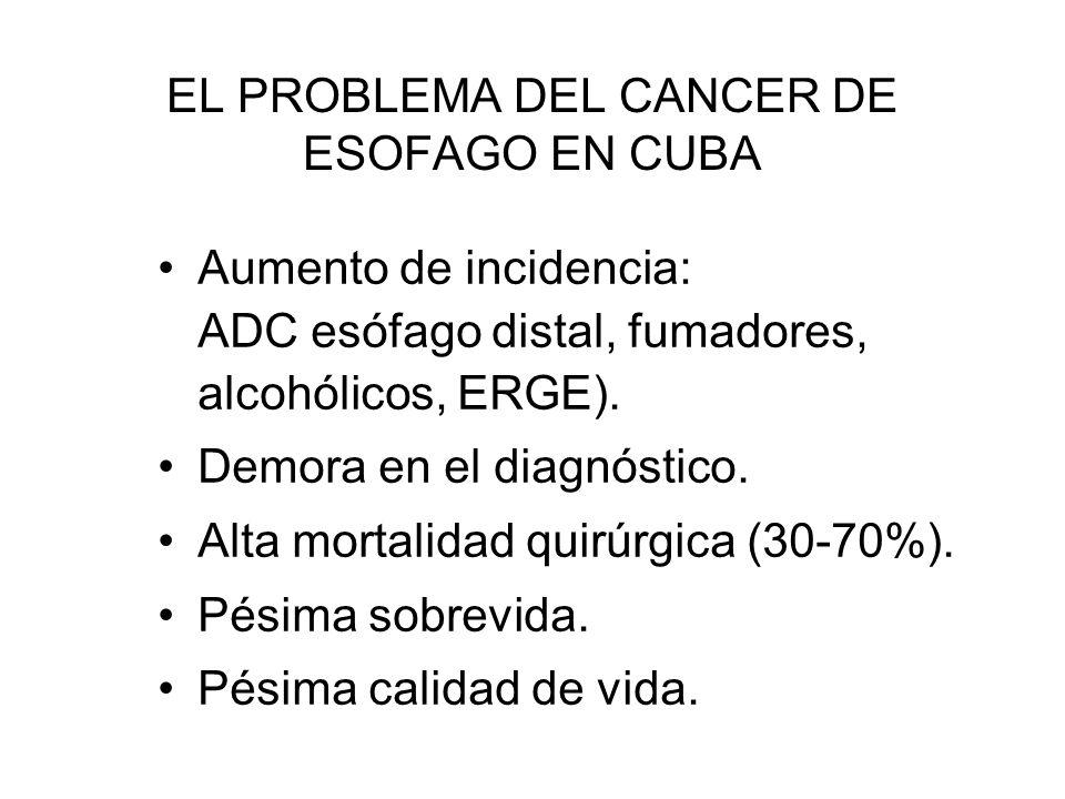 EL PROBLEMA DEL CANCER DE ESOFAGO EN CUBA Aumento de incidencia: ADC esófago distal, fumadores, alcohólicos, ERGE). Demora en el diagnóstico. Alta mor