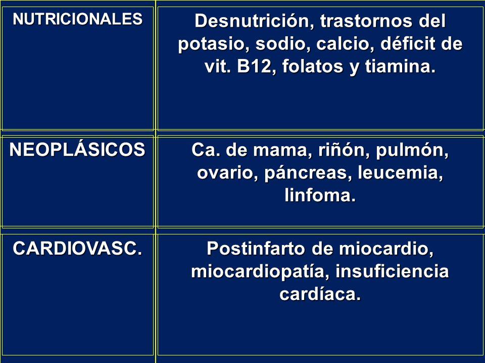 NUTRICIONALES Desnutrición, trastornos del potasio, sodio, calcio, déficit de vit. B12, folatos y tiamina. NEOPLÁSICOS Ca. de mama, riñón, pulmón, ova