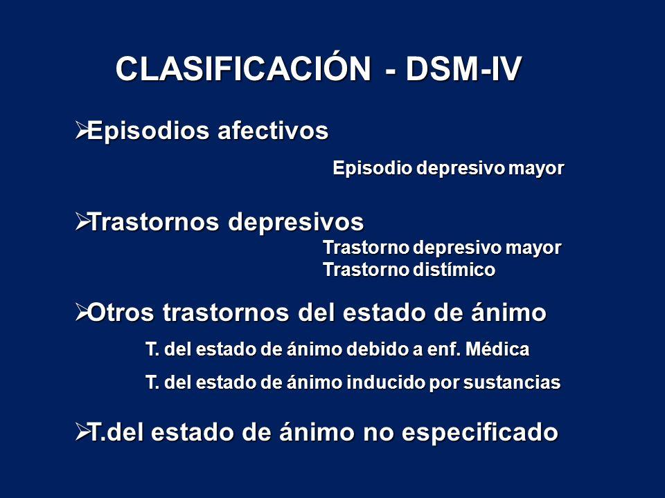Episodios afectivos Episodios afectivos Episodio depresivo mayor Episodio depresivo mayor Trastornos depresivos Trastornos depresivos Trastorno depres
