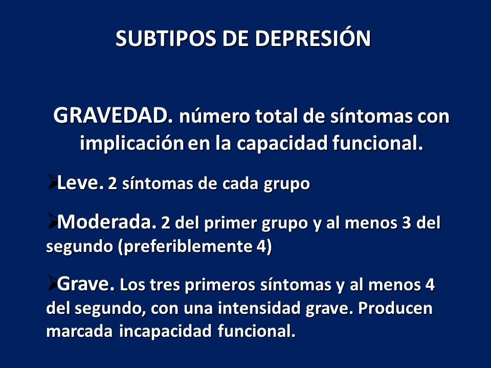 SUBTIPOS DE DEPRESIÓN GRAVEDAD. número total de síntomas con implicación en la capacidad funcional. Leve. 2 síntomas de cada grupo Leve. 2 síntomas de