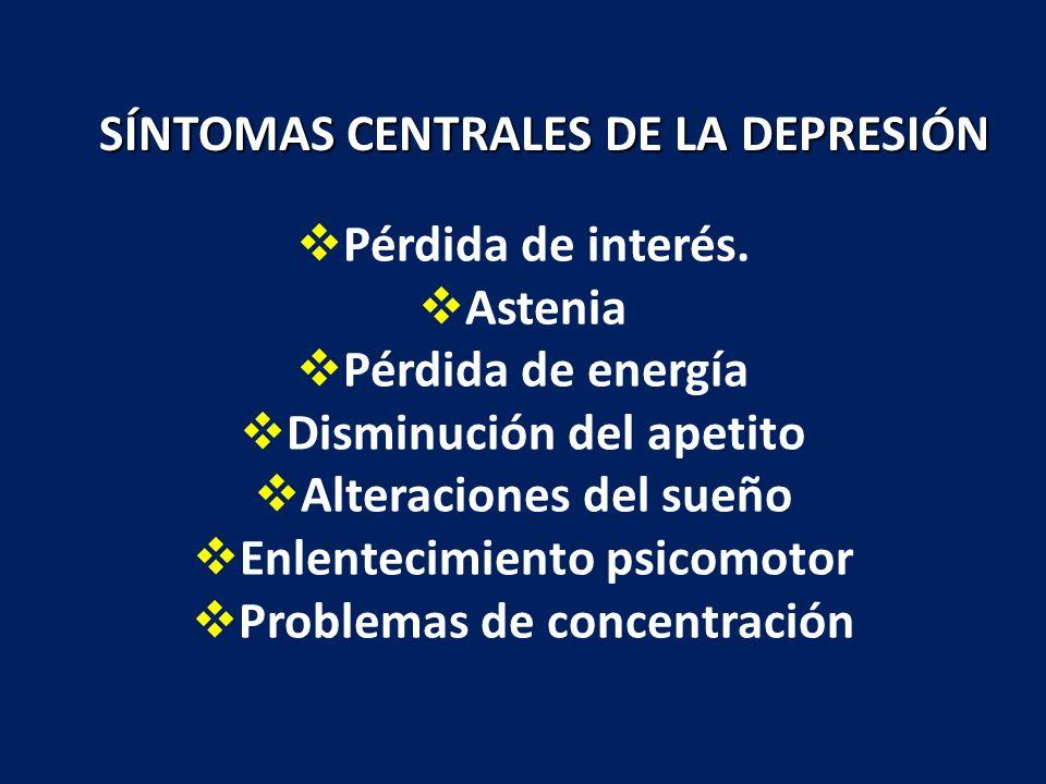 Pérdida de interés. Astenia Pérdida de energía Disminución del apetito Alteraciones del sueño Enlentecimiento psicomotor Problemas de concentración SÍ
