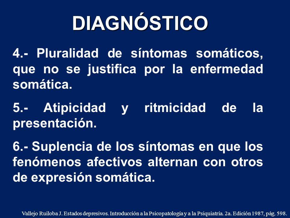 4.- Pluralidad de síntomas somáticos, que no se justifica por la enfermedad somática. 5.- Atipicidad y ritmicidad de la presentación. 6.- Suplencia de