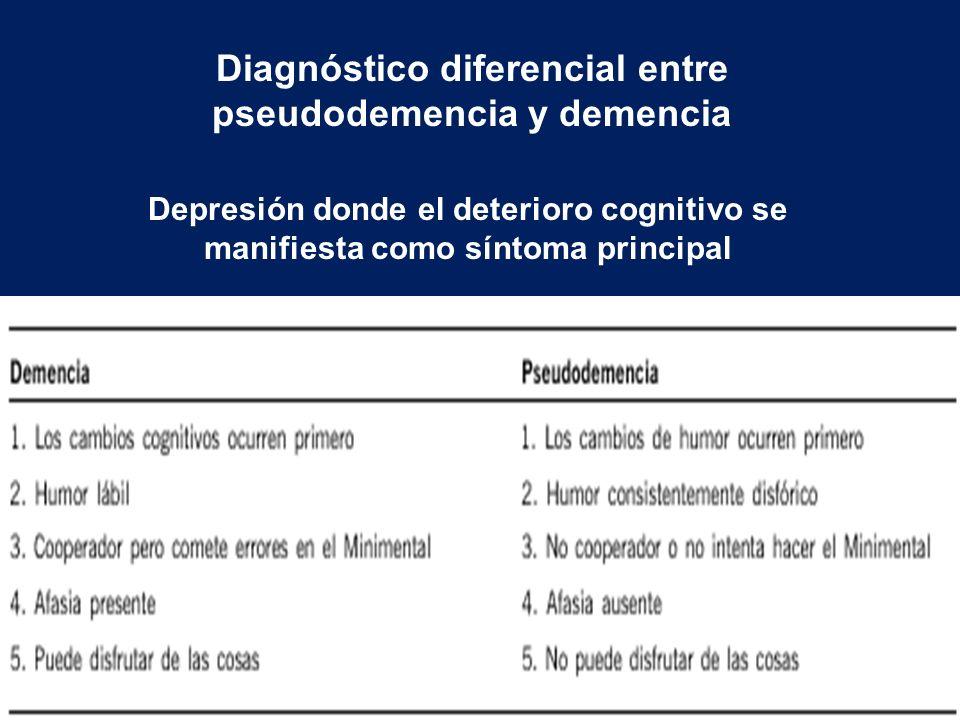 Diagnóstico diferencial entre pseudodemencia y demencia Depresión donde el deterioro cognitivo se manifiesta como síntoma principal