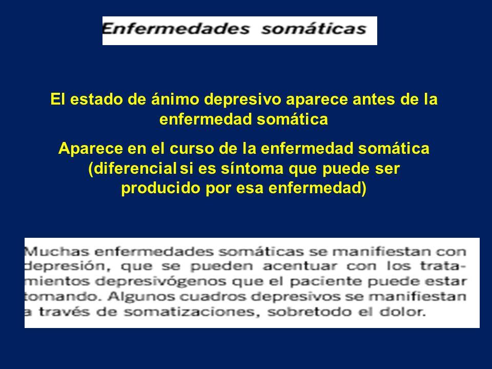 El estado de ánimo depresivo aparece antes de la enfermedad somática Aparece en el curso de la enfermedad somática (diferencial si es síntoma que pued