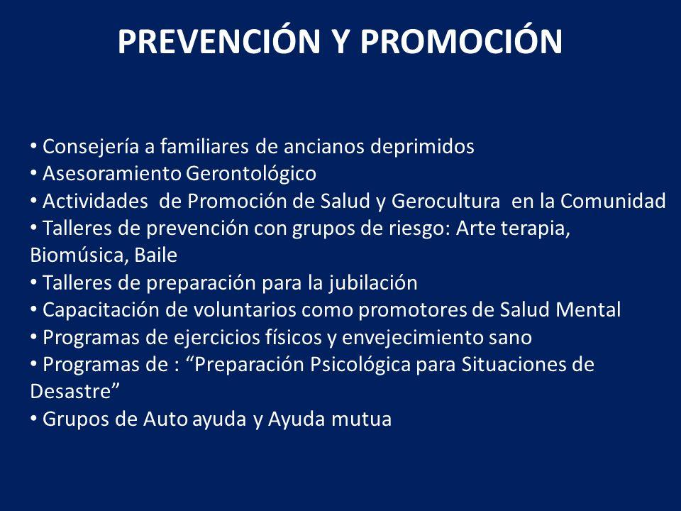 PREVENCIÓN Y PROMOCIÓN Consejería a familiares de ancianos deprimidos Asesoramiento Gerontológico Actividades de Promoción de Salud y Gerocultura en l