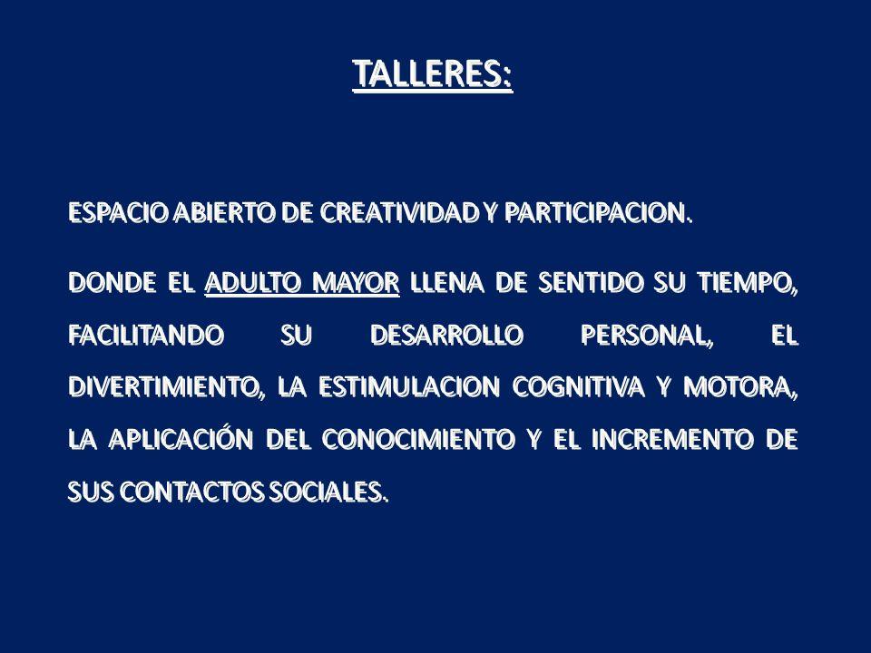 TALLERES: ESPACIO ABIERTO DE CREATIVIDAD Y PARTICIPACION. DONDE EL ADULTO MAYOR LLENA DE SENTIDO SU TIEMPO, FACILITANDO SU DESARROLLO PERSONAL, EL DIV