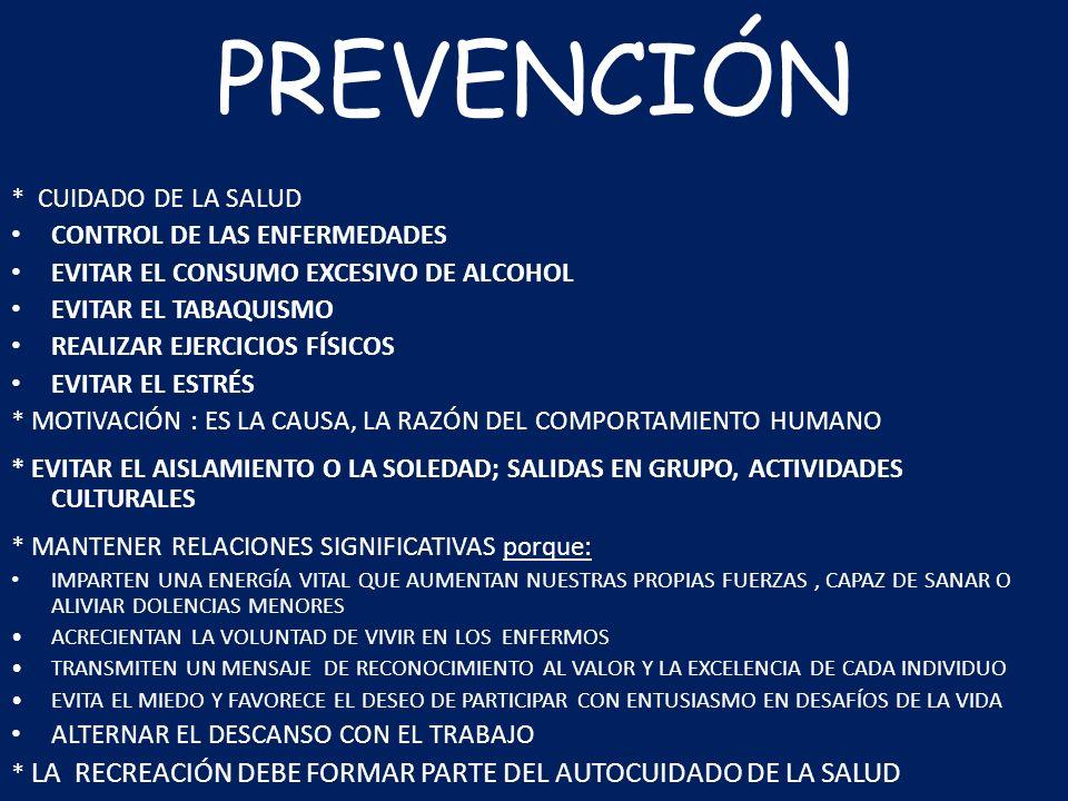 PREVENCIÓN * CUIDADO DE LA SALUD CONTROL DE LAS ENFERMEDADES EVITAR EL CONSUMO EXCESIVO DE ALCOHOL EVITAR EL TABAQUISMO REALIZAR EJERCICIOS FÍSICOS EV