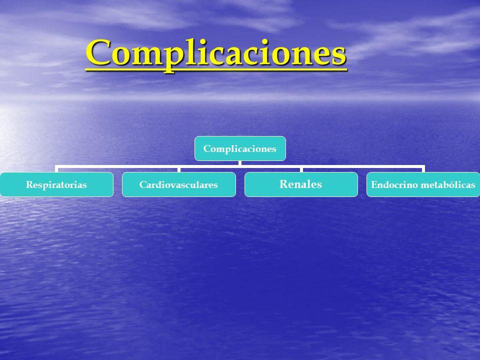 Complicaciones Complicaciones Complicaciones RespiratoriasCardiovascularesRenales Endocrino metabólicas