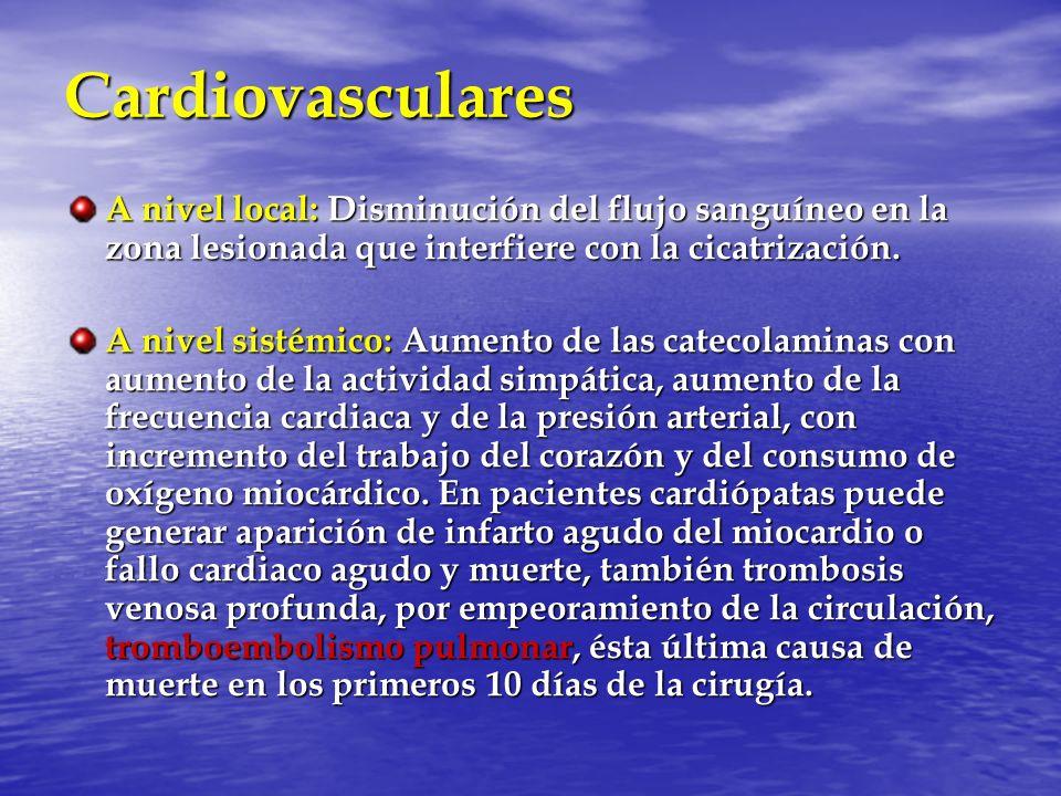 Cardiovasculares A nivel local: Disminución del flujo sanguíneo en la zona lesionada que interfiere con la cicatrización. A nivel sistémico: Aumento d