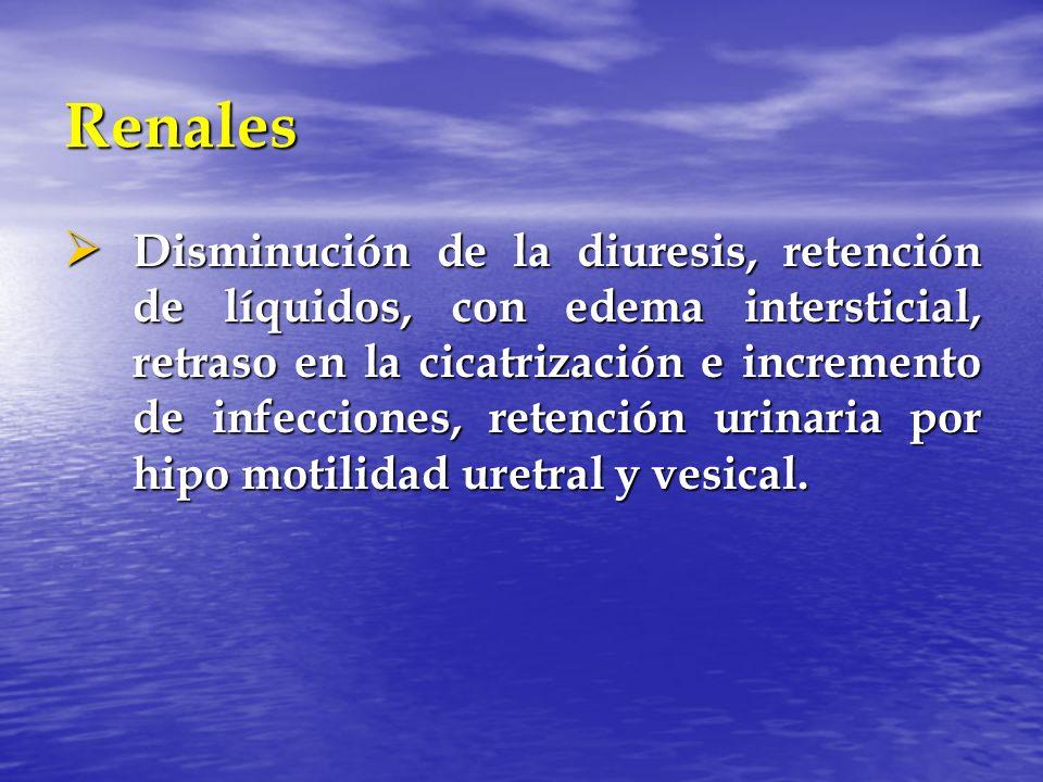 Renales Disminución de la diuresis, retención de líquidos, con edema intersticial, retraso en la cicatrización e incremento de infecciones, retención