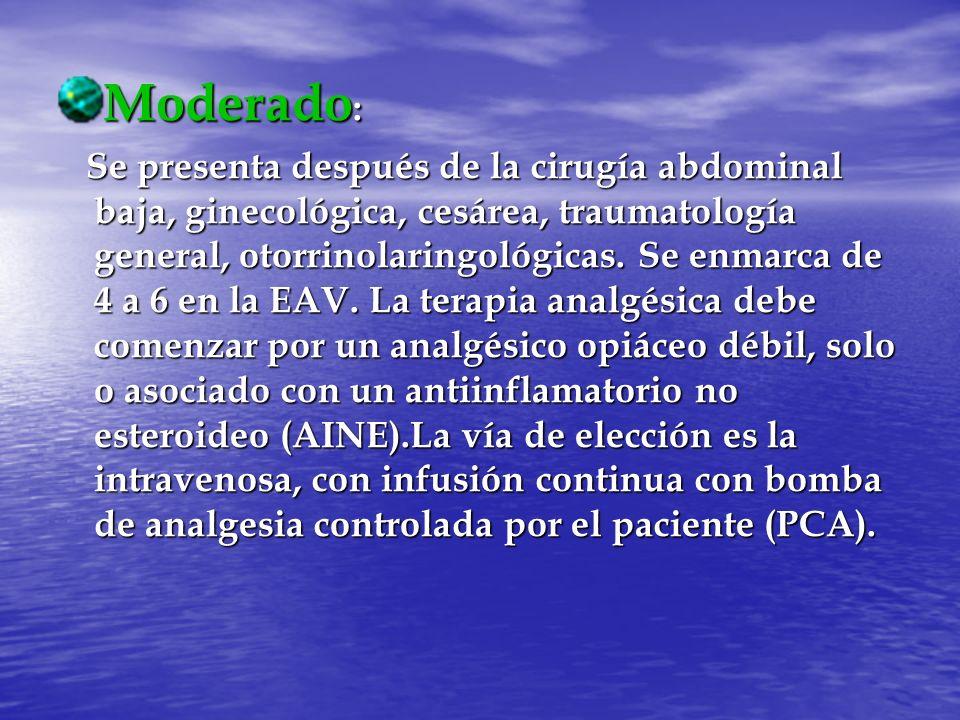 Moderado : Se presenta después de la cirugía abdominal baja, ginecológica, cesárea, traumatología general, otorrinolaringológicas. Se enmarca de 4 a 6